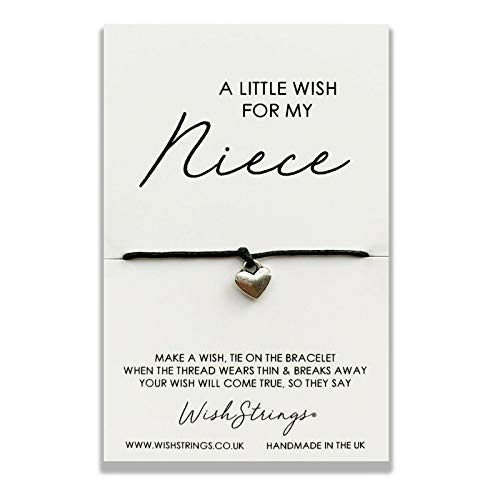 WishString Wish String Silver Charm Bracelet - A Little Wish Just for My Niece