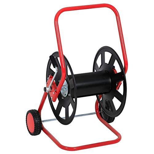 KNAUTHE Schlauchwagen rot/schwarz, Schlauchaufroller für Gartenschläuche und Schlauchsysteme, Schlauchtrommel aus rostfreiem Stahl, Schlauchhalter mit Kurbel, ca. 80 x 50 x 60 cm