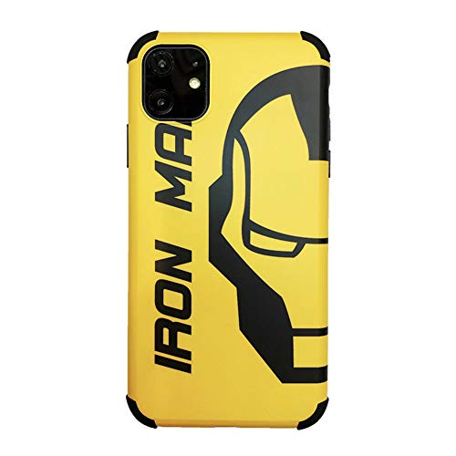 HYGLPXD Funda iPhone 11, Cárcasa Silicona con Hombre araña/Hombre de AceroDibujos Diseño Suave Gel TPU Antigolpes de Protector Piel Case Fundas para Movil iPhone 11/Pro/MAX, Negro