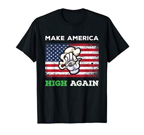 Make America High Again Weed Marijuana Pot Leaf USA Flag T-Shirt