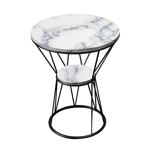 WGFGXQ Simple Side Table/Wrought Iron End Table, Natural Marble Table Top, Metal Bracket, The Best Companion for The Living Room Sofa, Round, Multi-Color Optional