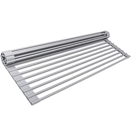 Generic Roll Up Dish Drying Rack,Over The Sink Dish Rack Kitchen Rolling Dish Drainer Multipurpose Foldable Over Sink Kitchen Drainer Rack for Cups Fruits Vegetables(Warm Grey ,17x13.5 inch)