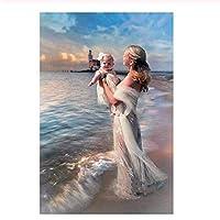 赤ちゃんを抱いてビーチで母1000ピースジグソーパズル 木製ジグソー大人の子供脳チャレンジ