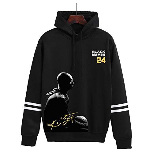 NBA Los Angeles Lakers Kobe Bryant # 24 Sudadera con Capucha para Hombre, Sudadera con Capucha De Polar De Manga Larga De Baloncesto Suéter De Entrenamiento Informal,Negro,L