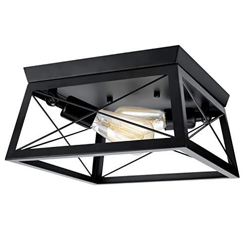 Lámpara de techo industrial semi empotrada – 2 luces vintage lámpara de techo con pantalla cuadrada de metal negro para cocina, isla de cocina, vestíbulo, pasillo