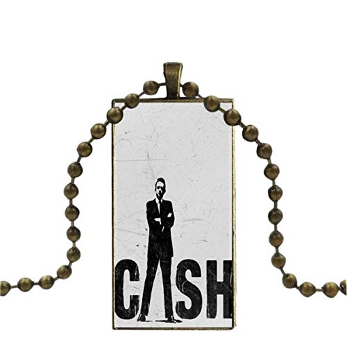 SYSFOUR Johnny Cash Raise His Middle Finger Necklace Fashion Long Chain With Rectangle Necklace Jewelry For Girls Gift