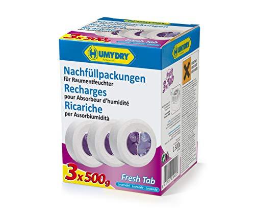 HUMYDRY Nachfüllpackungen TAB 3x500g Lavendel für Luftentfeuchter ohne Strom