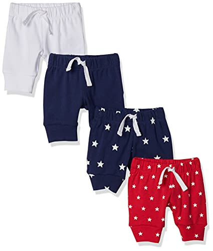 Amazon Essentials Lot de 4 Pantalons à enfiler pour garçons, Bleu/rouge/blanc, US 12M (EU 74–80)