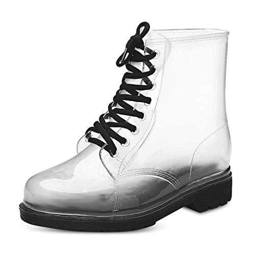 Yying Damen Regenstiefel Mode Schnür Transparent Martin Stiefel Rubber Gelee Freizeit Einfarbig Kurze Regen Schuhe Größe 36-40