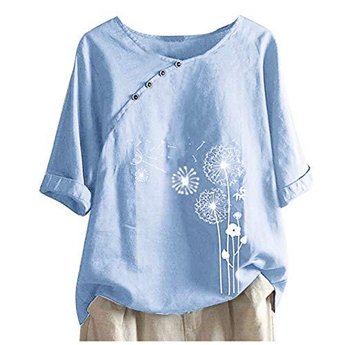 WANGTIANXUE Blusa de manga corta para mujer, de verano, suelta, de lino, de gran tamaño, túnica, elegante, con diente de león, con botones azul claro S