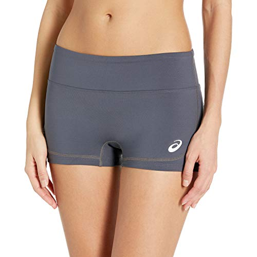 ASICS Women's Volley Booty Shorts, Steel Grey/Black, X-Large