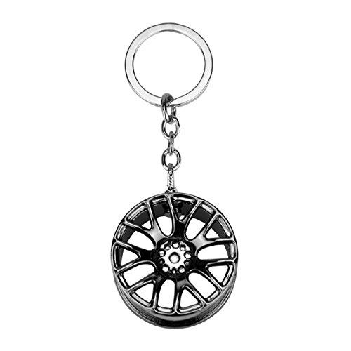 VORCOOL Auto Reifen Schlüsselanhänger Ring Auto Felge Keychain Keyfob Auto Zubehör (Gun Black)