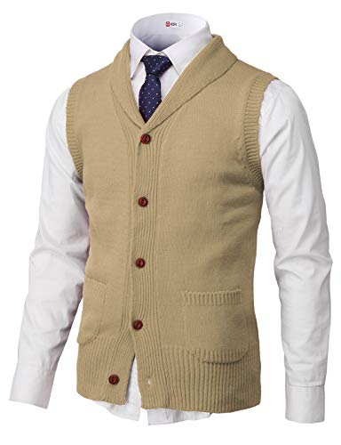 H2H Mens Casual Shawl Collar Button Down Pullover Vests Beige US XL/Asia 2XL (CMOV048)