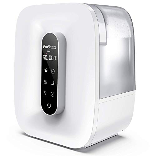 Pro Breeze? 5.6 Litre Ultrasonic Humidifier with Cool & Warm Mist with LED Display, Humidity Sensor, Timer, Mood Light, Aroma Diffuser Pod, Auto Shut-Off and 360? Dual Mist Output, Works for 47 Hours