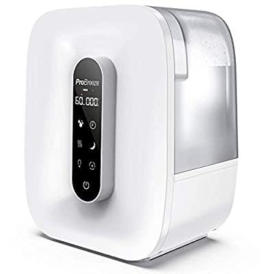 Pro Breeze® 5.6 Litre Ultrasonic Humidifier with Cool & Warm Mist with LED Display, Humidity Sensor, Timer, Mood Light, Aroma Diffuser Pod, Auto Shut-Off and 360° Dual Mist Output, Works for 47 Hours