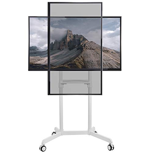 VIVO Mobile Premium TV Cart for 37 to 70 inch Flat Screens, Samsung Digital Flipchart, Microsoft Surface Hub 2S, Luxury Portrait to Landscape TV Display Stand with Wheels, White STAND-TV02PW