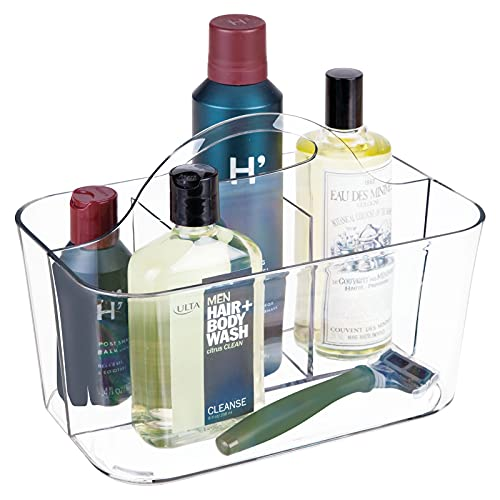 mDesign Plastic Mens Grooming Storage Organizer Caddy Tote - Divided Basket Bin, Handle for Bathroom - Holds Shaving Cream, Razors, Beard Oil, Combs, Brushes, Hair Gel, Cologne - Clear