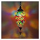 Lámparas de araña Lámpara Colgante de Estilo Turco de Forma de Olivo, luz Colgante Decorativa, Bombilla E14, Pantalla de Cristal de Mosaico Colorido Hecha a Mano (9 Colores) Lámparas de araña