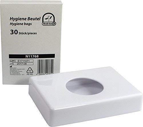 Spender für Hygienebeutel Hygienebeutelspender Hygienebeutelbox (1x Box weiß + 30 Hygienebeutel)