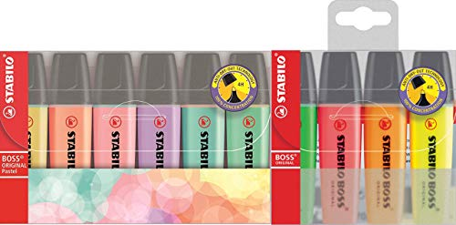 Evidenziatore Stabilo–STABILO BOSS ORIGINAL Pastel, 6 + 4 Special Pack, Pastell Sortierung, 1