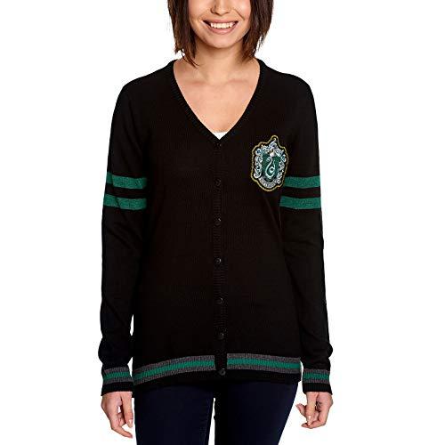 Elbenwald Harry Potter Cardigan für Hogwarts Haus Slytherin mit Wappenpatch und Knopfleiste für Damen schwarz - XS