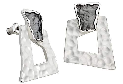 Perlkönig | Damen Frauen | Ohrringe Set | Ear Cuffs | Silber Schwarz Farben | Eckig | Stecker | Nickelabgabefrei