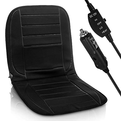 Hillington Heated Car Seat Cover – Universal 12V Cigarette Lighter Padded Electric Warming Hot Cushion Warm Winter Pad with 2 Heat Settings, Easy to Use Control Switch and Overheat Protection