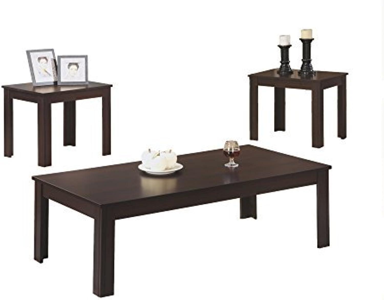 Monarch Specialties 3-Piece Table Set, Cappuccino