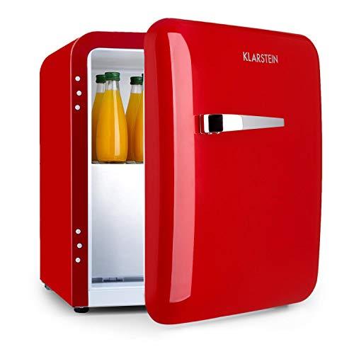 Klarstein Audrey Mini 2in1 - Mini nevera, Frigorífico pequeño, Eficiencia energética A+, Tirador cromado, Estilo americano, Iluminación LED, Diseño compacto, Bisagra intercambiable, 37L, Rojo