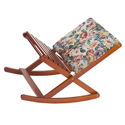 Deluxe Foldable Rocking Footrest, Adjustable Fold-Away Foot Stool with Tapestry Cushion