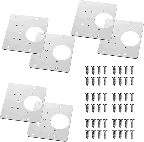 Cabinet Hinge Repair Plate With Hole,Wooden Cabinet Hinge Repair Plate Door With Mounting Screws,For Wood, Furniture, Shelves, Cabinet (6pcs)
