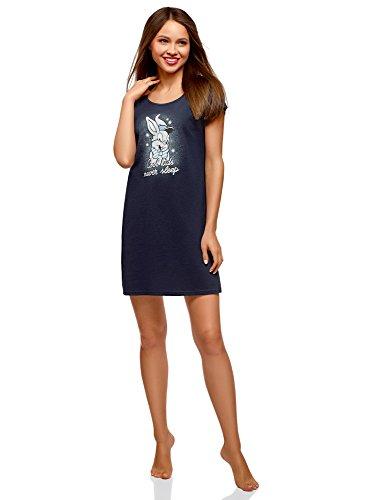 oodji Ultra Mujer Vestido de Algodón con Estampado, Azul, ES 42 / L