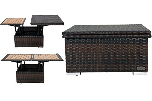 OUTFLEXX höhenverstellbarer Loungetisch aus hochwertigem Polyrattan in braun-marmoriert, Gartentisch, Kaffeetisch, 75 x 75 x 40 cm, Esstisch, 152 x 75 x 64,5 cm, Tischplatte in Holzoptik, Abdeckhaube