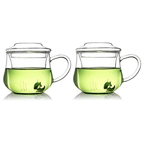 Ruesious Glas-Teekanne 400ml 3-Teiliger Teebereiter mit Integriertem Borosilikatglas-Sieb und Glas-Deckel, Ideal zur Zubereitung von Losen Tees, All-in-One ….