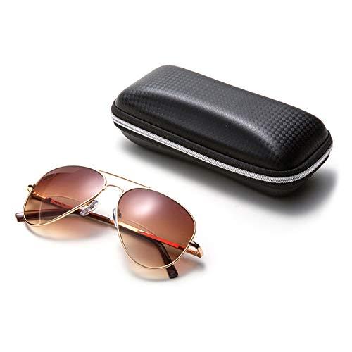 VEVESMUNDO Lesebrille mit Etui Sonnebrille Getönte Gläser Anti UV Filter Groß Tragbare Metall Bifokal Lesehilfe Brille mit Sehstärke für Herren Damen Outdoor (gold und braun, 3.0)
