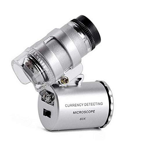 CKQ-KQ Pocket Mini Glass 60X HD lens Draagbare vergrootglas Microscoop met 2 LED verlichting en UV Banknote Lamp for Reading Inspectie solderen Handwerken Reparatie Hobby Ambachten