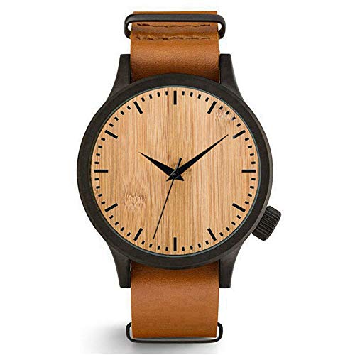 Relojes Madera Hombre Grande Reloj Cuero Marron Clásico