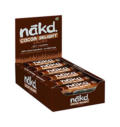 Nakd Cocoa Delight - Barritas de Fruta y Frutos Secos al Cacao - Sin Azúcar Añadido - Sin Gluten - Sin Lactosa - Vegano - Pack 18 Barritas x 35 g