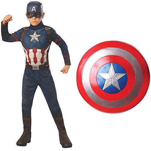 Rubies Disfraz oficial de los Vengadores del Capitn Amrica para nios, edad 5-7, altura 132 cm, tamao mediano + Avengers Escudo de Capitn Amrica