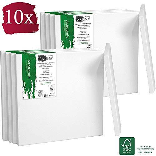 Artina Akademie Keilrahmen FSC®-Zertifiziert 10er Set 10x10 cm - Aus 100% Baumwolle Leinwand Keilrahmen weiß - 280g/m² - verzugsfrei