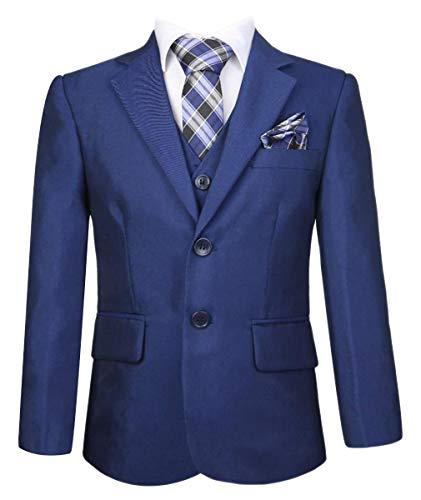 SIRRI Kinderanzug mit Krawatte und Tuch in Blau geeignet für Feier und Hochzeiten 6 Teilig 5 Jahre