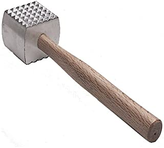 Great Credentials Extra Large Heavy-Duty Meat Tenderizer Mallet, Meat Tenderizer Hammer, Double-sided, Commercial-Grade, Wood Handle