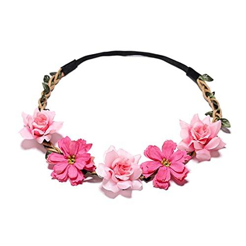 NC Tocado de flores para mujer, accesorio para el cabello, corona de princesa, corona de niña, tiara