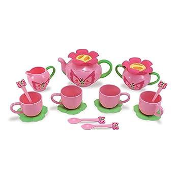 Melissa & Doug Sunny Patch Bella Butterfly Tea Set  15 pcs  - Play Food Accessories