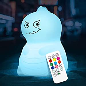 Dinosaur Night Light for Kids, VSATEN Cute Color Changing Touch Silicone Baby Night Light with Remote, Portable Rechargeable LED Bedside Nursery Lamp for Toddler's Room, Birthday Gifts for Boys Girls