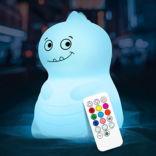 Dinosaur Night Light for Kids, VSATEN Cute Color Changing Touch Silicone Baby Night Light with...