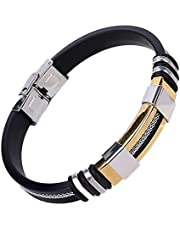 Men's handmade gold tone Titanium steel Silicone leather fashion bracelet (P793J)