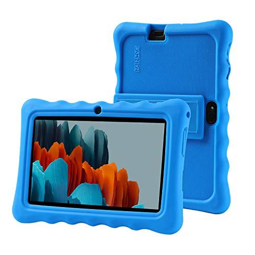 LAMZIEN Fundas para Tableta,Ajuste de múltiples ángulos,anticolisión,Funda de silicona en para Dragon Touch LAMZIEN Haehe Pritom Q88,etc.tableta Android de 7 pulgadas,Azul