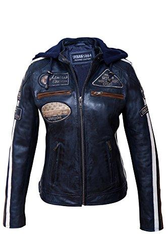 Chaqueta Moto Mujer de Cuero Urban Leather '58 LADIES' | Chaqueta Cuero Mujer | Cazadora Moto de Piel de Cordero | Armadura Removible para Espalda, Hombros y Codos Aprobada por la CE |Azul | L