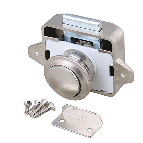 BQLZR Verriegelung mit Knopf für Wohnwagen/-mobil, Boot, Schrank, Tür, 26-mm-Öffnungsloch, schlüssellos verwendbar, Öffnen und Verriegeln durch Drücken, M4171106007